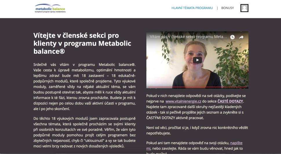 Uvítací stránka v členské sekcii Metabolic balance®