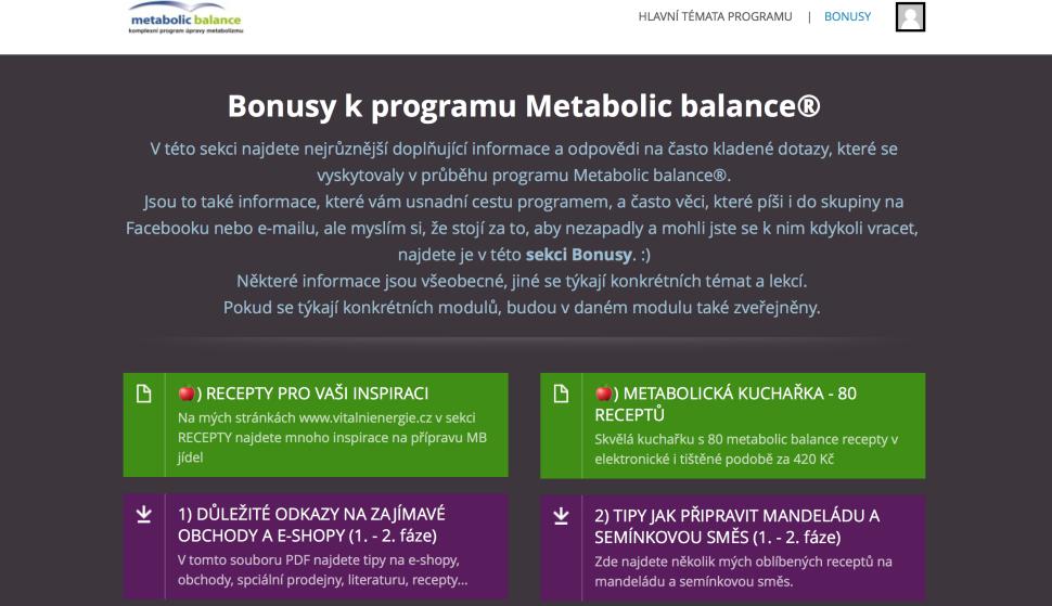 Stránka se 30 bonusy v členské sekci Metabolic balance®