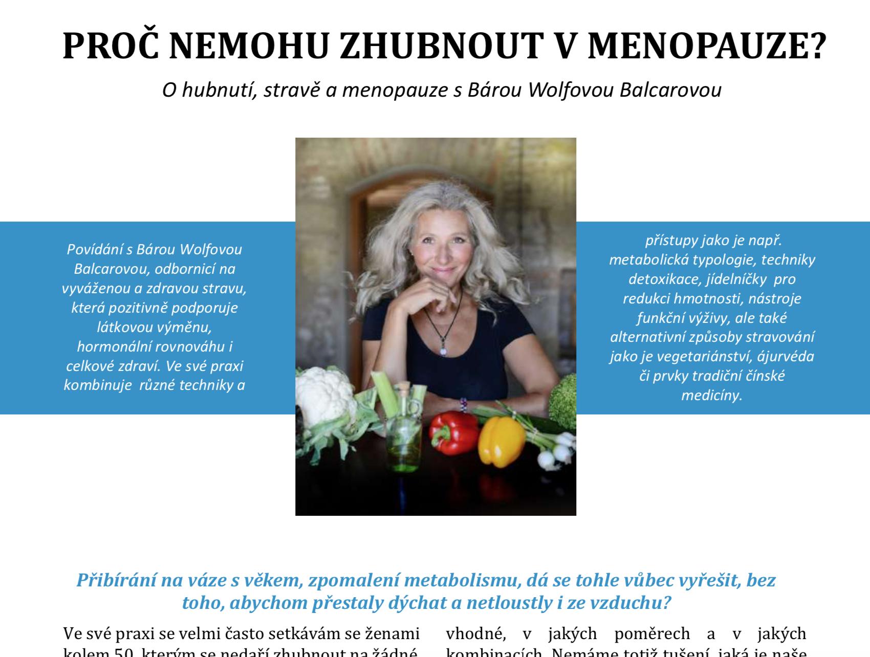 Strava a hubnutí v menopauze