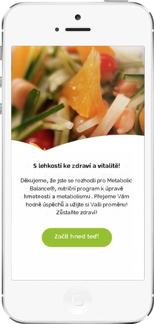 Mobilní aplikace metabolic balance - jídelníče aseznam potravin stále vkapse